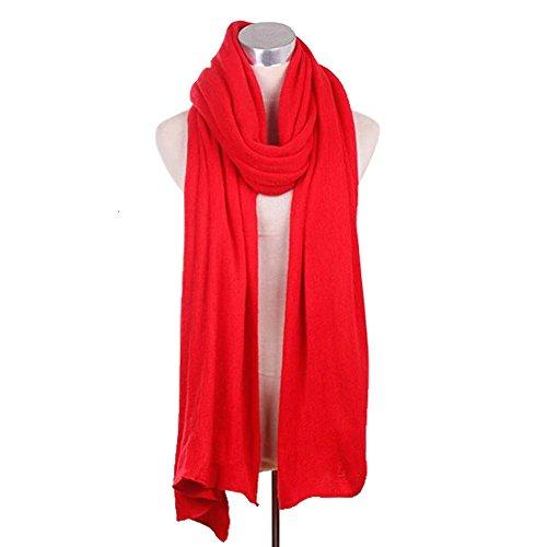 Élégant pures Echarpes couleur de dame de Echarpe Pashmina tricoté de luxe Rouge