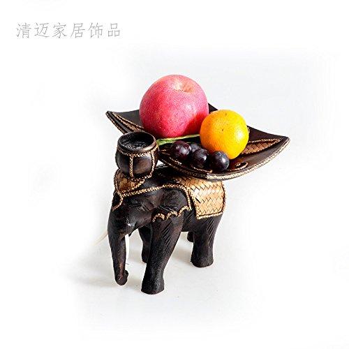 Legno intagliato a mano frutta parabola creativa retrò frutto di bambu 'elefante vassoio.