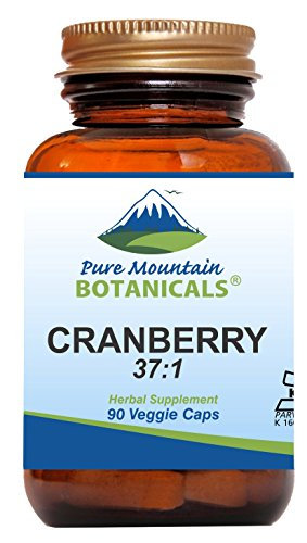 High Potency Cranberry Pills 37:1 Cranberry Concentrate Extract - 90 Veggie Kosher Capsules Now with 400mg