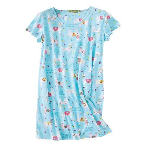 ENJOYNIGHT Women's Sleepwear Cotton Sleep Tee Short Sleeves Print Sleepshirt (X-Large, Alpaca)