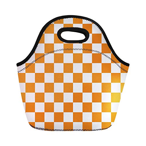 Semtomn Lunch Tote Bag Red Check Orange White Checkerboard Pattern Chequered Chess Abstract Reusable Neoprene Insulated Thermal Outdoor Picnic Lunchbox for Men Women -