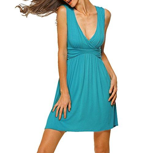HARHAY Women's Sleeveless V-neck Summer Sun Dress Turquoise M
