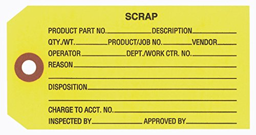 (Scrap, Inspection Tag, Yellow 4-3/4