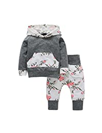 Tenworld 2pcs Infant Baby Boy Girl Clothes Set Floral Hoodie Tops+Pants Outfits