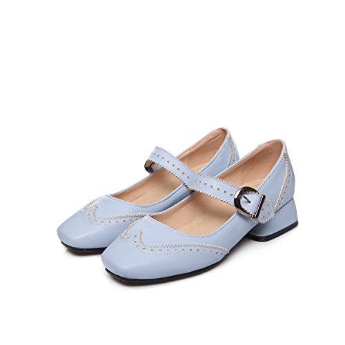 YE Damen Mary Janes Pumps Blockabsatz High Heels mit Riemchen Elegant Bequem Schuhe Blau