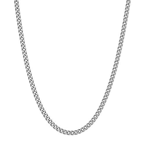 "Sterling Silver Curb Link Chain Necklace Solid 2.3mm Wide 16-20"" Inch Length (16)"