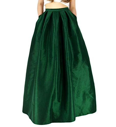 YSJERA Women's High Waist A-Line Pleated Maxi Skirts Party Swing Skirt with Pockets (16, Green Len 43.3