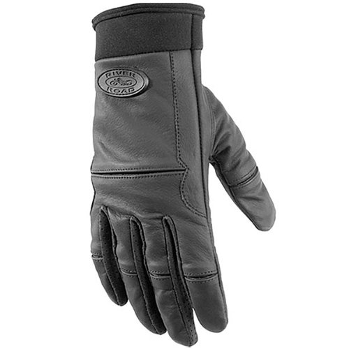 River Road Chisel Women's Leather Cruiser Motorcycle Gloves - Black / Small