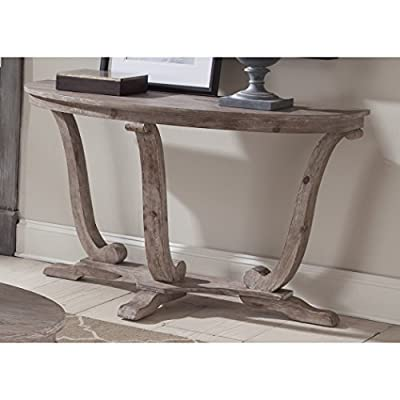 Transitional Rustic Pine Wood Accent Sofa Table with Flat Pedestal Base in Stone White Wash Finish - Includes Modhaus Living Pen