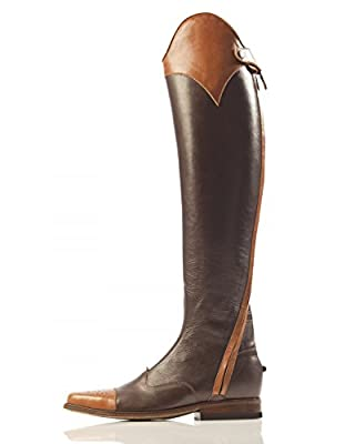 Men's Horse Riding Two Tone Leather Dressage Tall Boot Custom Made Shoes in all sizes