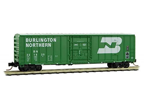 (50' Rib-Side Plug-Door Boxcar No Roofwalk - Ready to Run -- Burlington Northern 321625 (Cascade Green, white, Large Logo))