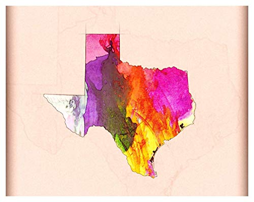 Unique Texas Map Pencil/Watercolor Style Fine Art Photo Print - 11x14 Unframed Art Print - Gift for Those Passionate About Texas- Perfect for Dorm, Living Room or Bedroom Decor- Gift Under $25