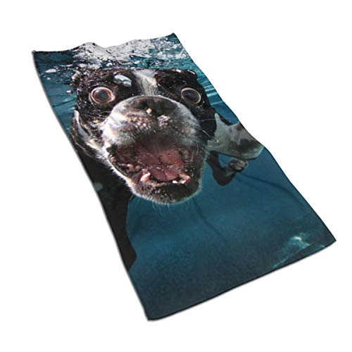 UUCNJY Hand Towels Boston Terrier Underwater Dog Printed Bathroom Towel Microfiber Super Soft Highly Absorbent Towel for Bathroom