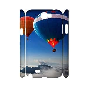 3D Dustin Balloon Samsung Galaxy Note 2 Case Funny Design Hot Air Balloons over the Mountains, Samsung Galaxy Note2 Cases for Girls [White]