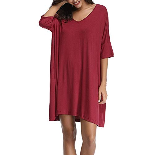 Lookatool LLC Women's V-Neck Short Sleeve T-Shirt Dress Loose Nightshirt Sleepwear -