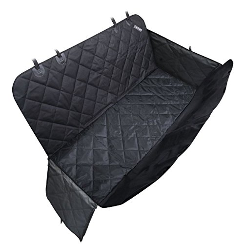 [Pet Seat Cover for Cars - Black, WaterProof & Hammock Convertible] (Sliding Side Reins)
