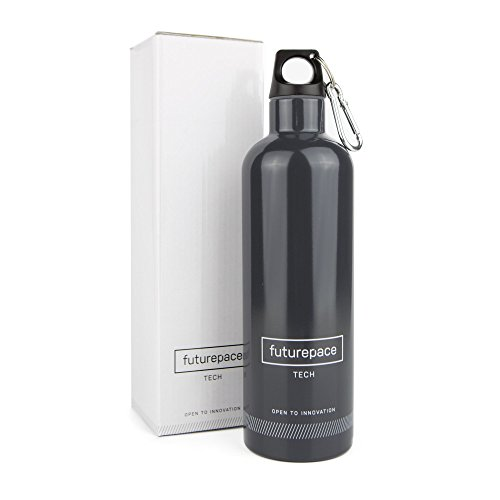 Futurepace Tech Best Stainless Steel Double Walled Vacuum Insulated Water Bottle - Charcoal - 20oz / 600ml - Perfect for Fitness, Sports, Gym, Cycling, Camping, Hiking, Yoga, Beach