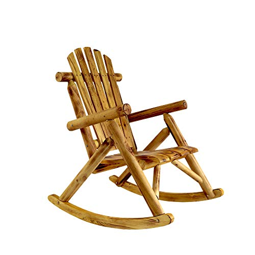 ZSQ Antique Wood Outdoor Rocking Log Chair Wooden Porch Rustic Log Rocker