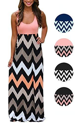 LETSRUNWILD Women's Boho Chevron Striped Print Summer Beach Sleeveless Tank Long Maxi Party Dress Pink Medium (Chevron Dress Pink)