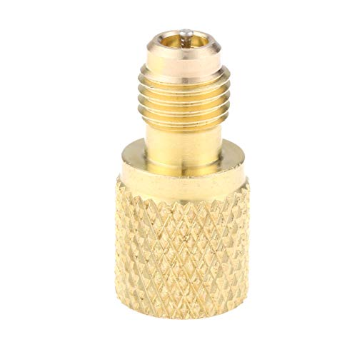 R134A Brass Adapter Fitting, 1/4″ Male to 1/2″ Female Acme Refrigerant Tank Adapterr with Valve Core, Fits for AC Refrigerant System