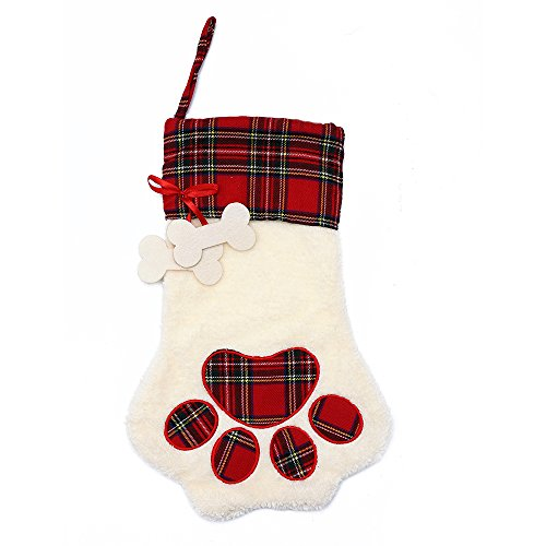 Stocking Christmas Long Inches 11 (M DoDo Christmas Paw Stocking For Pet Dog Large Sherpa Hanging Christmas Stocking (Red))