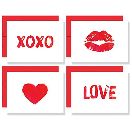 Little Love Notes: Set of 8 Premium Valentine's Day Blank Note Cards with Red Envelopes - 4 Unique Romantic Brush Art Designs for Him or Her - Made in the USA By Palmer Street Press (Day Card Valentines Love)