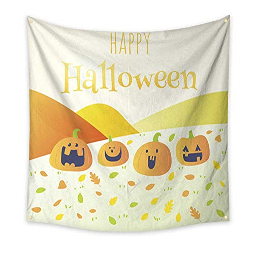 Anniutwo Tapestry Dorm Happy Halloween Holiday Greeting Card Funny Pumpkin Home Decorations 32W x 32L -