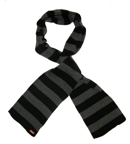 Gru Costume Nose (Mashed Clothing Black And Charcoal Striped Thick Knit Winter Scarf - Assorted Colors (Charcoal & Black))