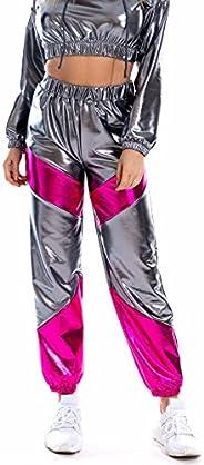 JOINFUN Women Joggers Shiny Metallic Sweatpants High Waisted Tapered Pants Club Trousers