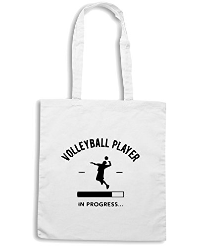 T-Shirtshock - Bolsa para la compra SP0144 Volleyball Player Loading Maglietta Blanco