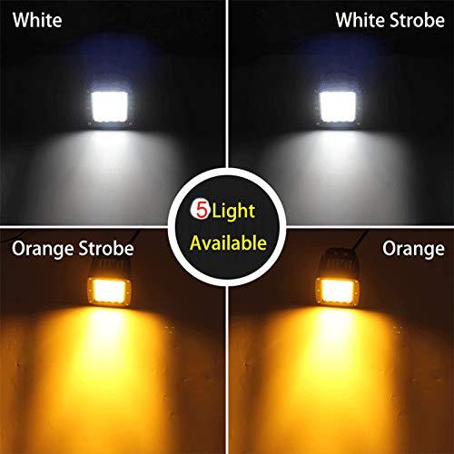 AUXTINGS 30,8 cm 180W LED a luce bianca e ambra a 3 file Spot flood Barra luminosa da lavoro a LED Led Luci di Lavoro Fuoristrada a Led per Moto 4WD SUV ATV UTV Camion