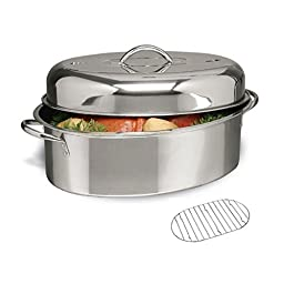 Gibson Home Stainless Steel Top Roast 16-Inch Oval Roaster Pan with Lid and Rack