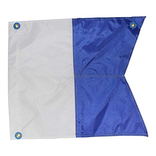 (Performance Divers Scuba Dive Flags - Nylon Alpha Flag with Stiffener - Scuba Diver Flag - Boat Flag Marker for Snorkeling, Diving, Underwater Activities Blue & White 31-inch x)