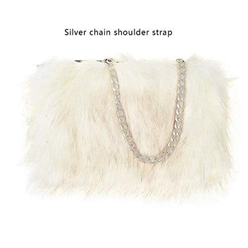 FAITH YN Faux Fur Leopard Purse Fuzzy bag Fur Purse Handbag Backpack shoulder bag for Women Aluminum Chain Shoulder Strap [White With ()