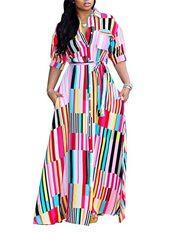 (LKOUS Womens Casual Button Down Collar Short Sleeve Stripes Belted Loose Long Maxi Dresses Shirt Plus Size )