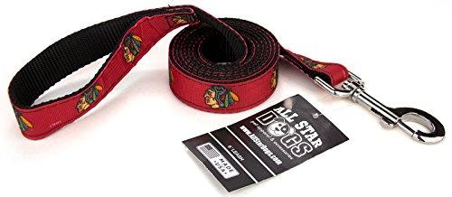 1 Inch Chicago Blackhawks Ribbon Dog Leash - 6 Foot -