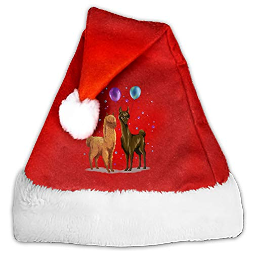 (Unisex-Adult's Child Santa Hat,Watercolor Llama Velvet Christmas Hat with Plush Trim ∧ Comfort)