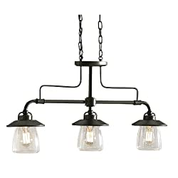 allen + roth Bristow 36-in W 3-Light Mission Bronze Kitchen Island Light with Clear Shade