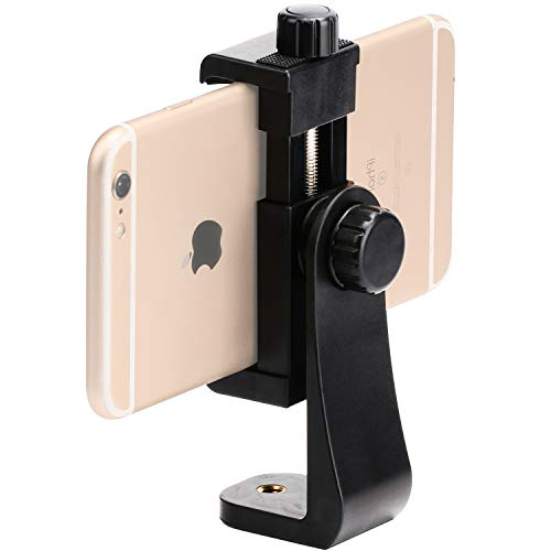 Phone Tripod Mount - 360 Rotation Smartphone Rotates Vertical and Horizontal Fits for All Phones and iPhone Tripod Mount, Adjustable Clamp