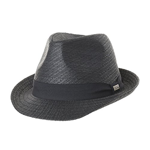 WITHMOONS Fedora Hat Paper Straw Banded Summer Cool SL6689 (Banded Straw Fedora Hat)