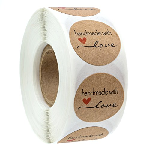 1 inch Round Natural Kraft Handmade with Love Stickers/500 Labels per roll