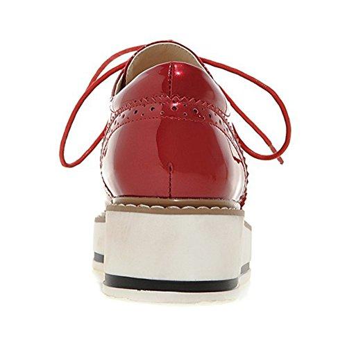 Mini-semelle Compensée À Semelle Compensée Carré-orteil Chaussures Compensées Femme Rouge