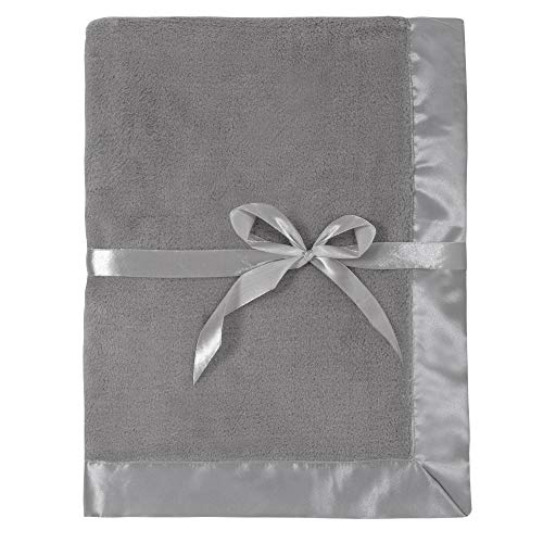 Silky Toes Baby Fleece Blanket Boy or Girl 30 X 30 with 2 Satin Trim, Pink, Light Blue and Cream (Grey)