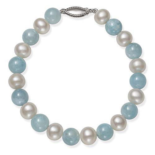 Sterling Silver Cultured Freshwater Pearl and Natural Aquamarine Gemstone Bracelet, 7.5