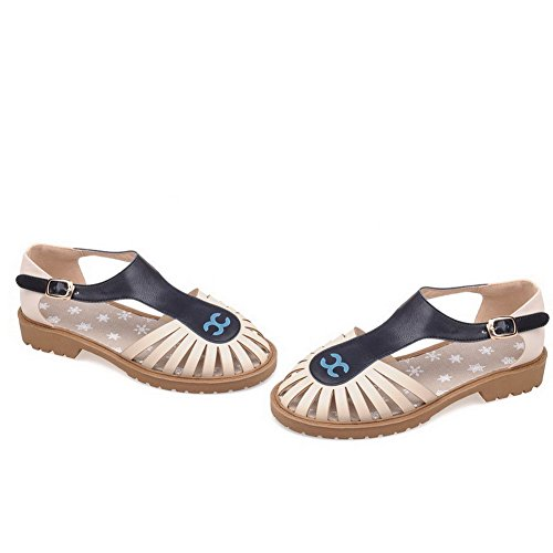 AmoonyFashion Womens Buckle Closed Toe Low-heels PU Assorted Color Sandals Beige GVbXN9En
