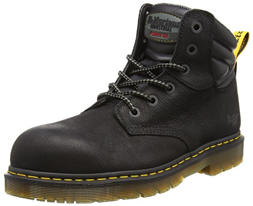 Martens Tie Unisex Leather Rubber Dr Boots Black 6 Toe Hynine Steel xSxqaw