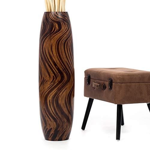 Leewadee Tall Big Floor Standing Vase For Home Decor, 10x36 inches, Wood, brown