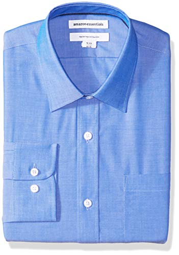 Amazon Essentials Men's Regular-Fit Wrinkle-Resistant Long-Sleeve Solid Dress Shirt, French Blue, 18.5