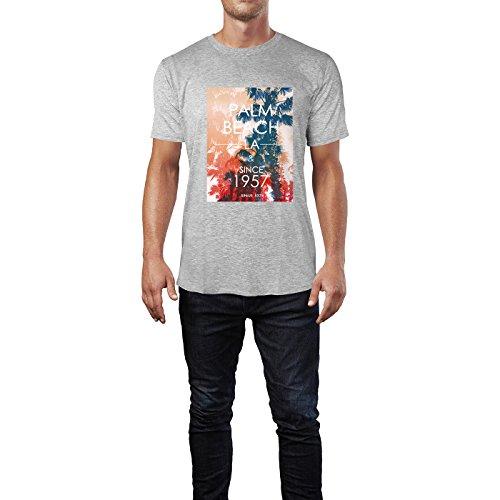 SINUS ART® Palm Beach LA Since 1957 Aufschrift Herren T-Shirts in hellgrau Fun Shirt mit tollen Aufdruck