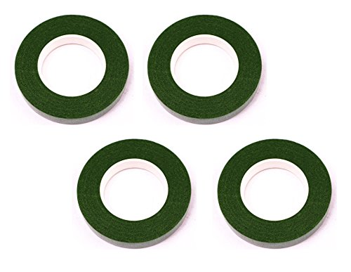 Shapenty 1/ 2 Inch Wide DIY Craft Handmade Floral Tape Flower Stem Wrap, 30 Yards/Roll (Dark Green, Pack of 4)